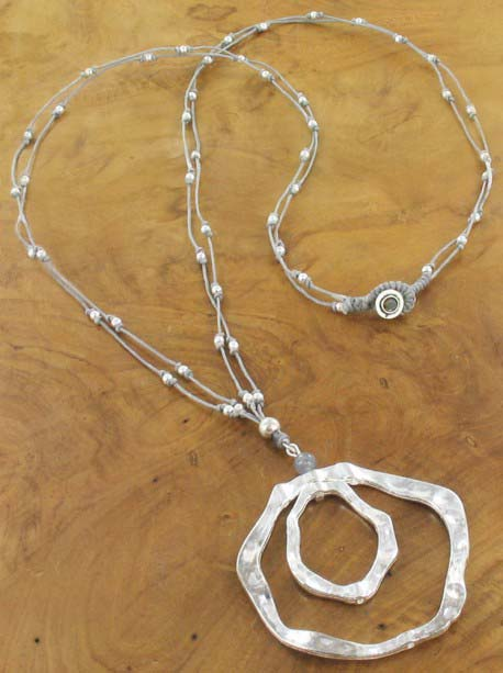 Grey bead and silver double pendant Necklace