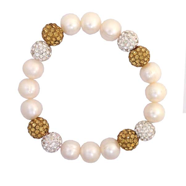 Pearl, Silver and Gold Swarovski Crystal Sparkle Bracelet