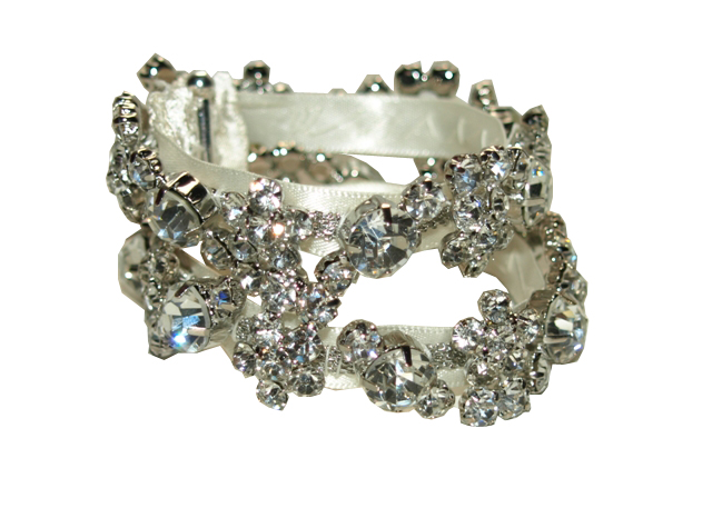 Double Cuff Satin Diamante Bracelet