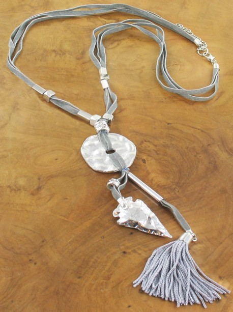 Silver heart Tassel Necklace