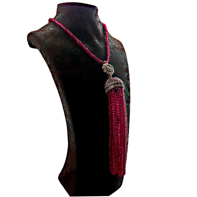 Cerise Pink Long Bead Necklace with crystal pendant and tassels