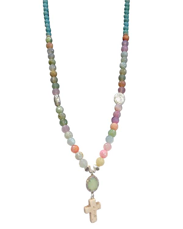 Summer bright Agate and Silver long Necklace