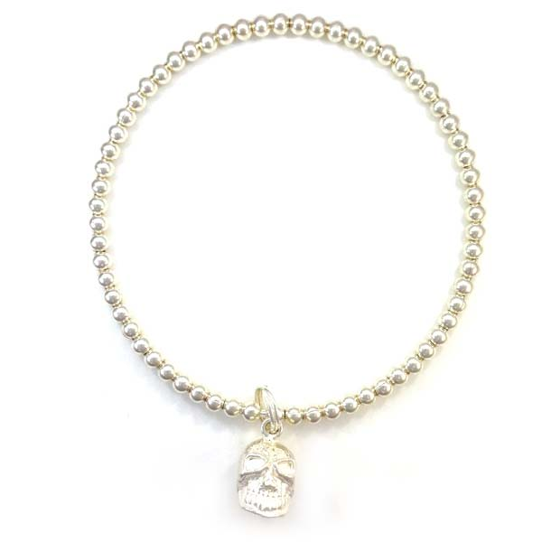 Sterling Silver Ball Bangle with Skull Charm