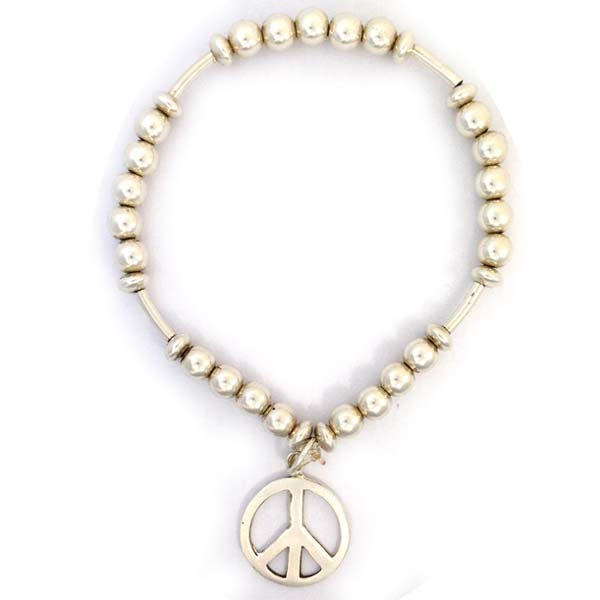 Sterling Silver Ball and Peace Charm Bracelet