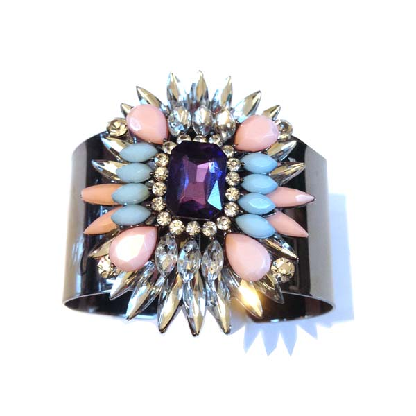 Crystal Blue and Pink Cuff