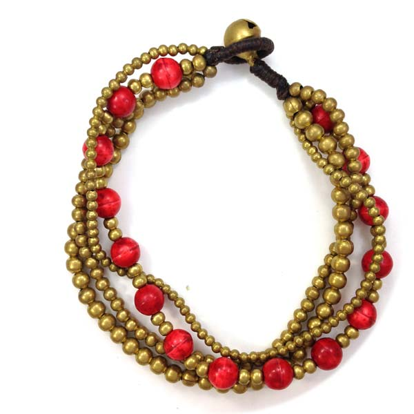 Wrap Brass and Coral Bracelet