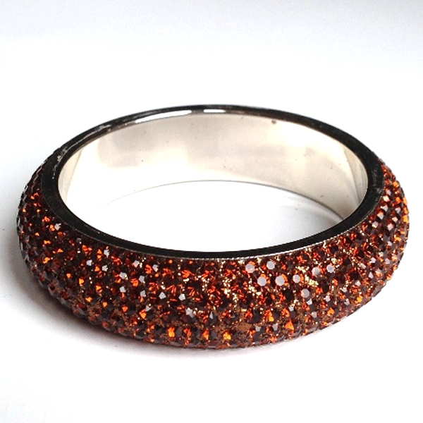 Sparkling Bronze Crystal Bangle with 7 rows of Crystals