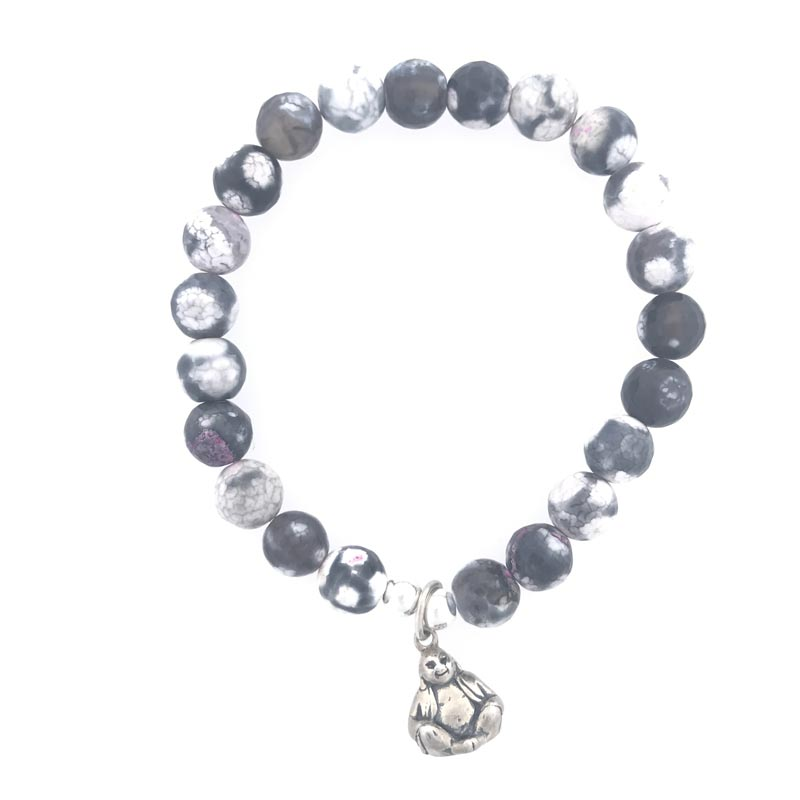 Sterling Silver and Grey Marbled Bead Buddha Charm Bracelet