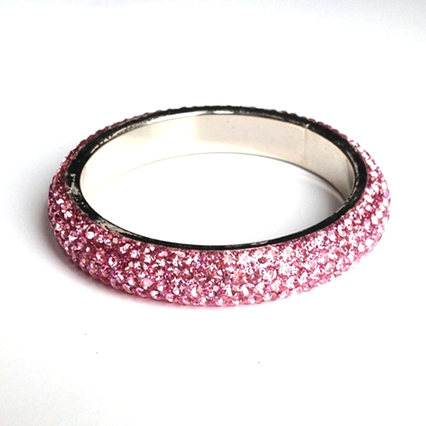 Sparkling Pastel Pink Crystal Bangle with 5 rows of Crystals