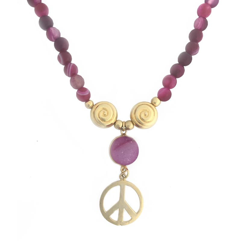 Red semi precious stone and peace charm Necklace in longer length