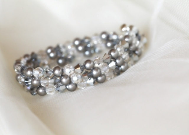 Silver Swarovski pearl and crystal triple strand bracelet with silver clasp