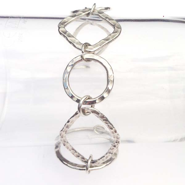 Sterling Silver Hammered Circle Bracelet