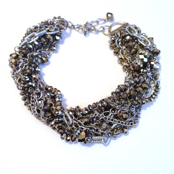 Chunky silver beaded necklace