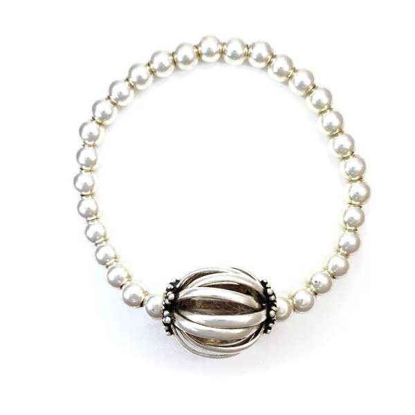 sterling silver ball focal bead bracelet