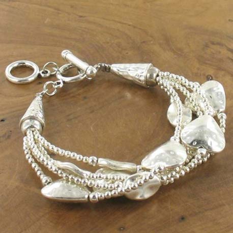 Multistrand silver heart and  bead bracelet