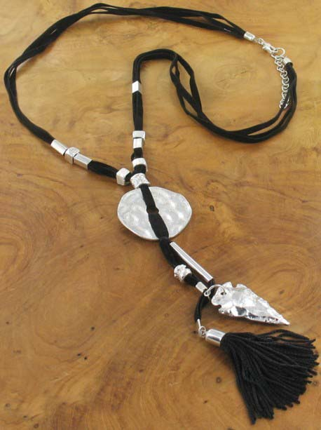 Black tassle and silver charm Necklace