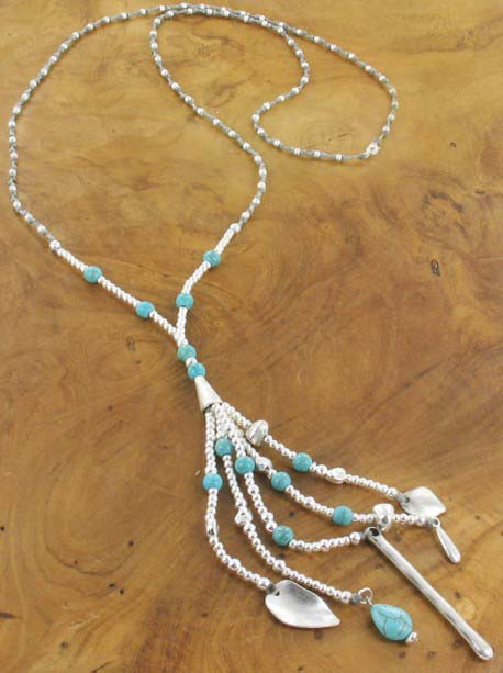 Blue stones and silver charms Necklace