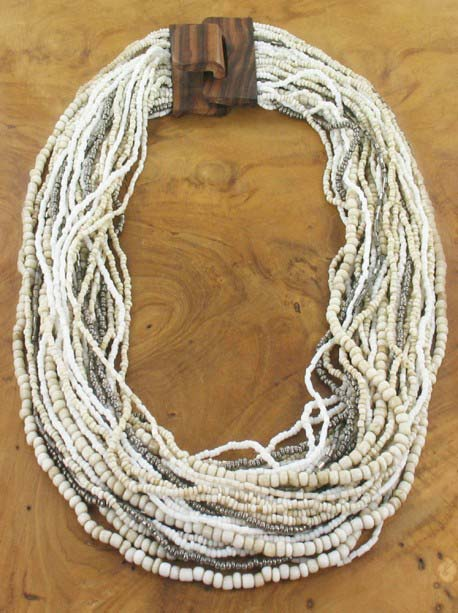 Multi-strands, beads and wood Necklace