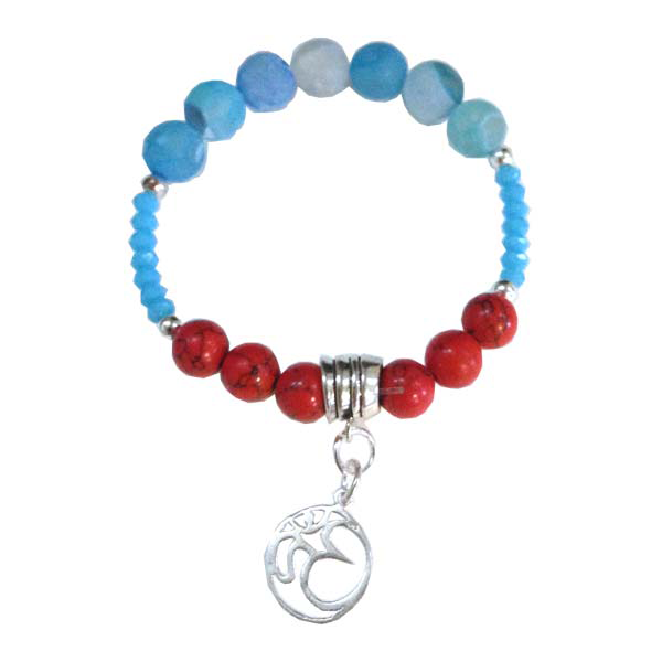 Sterling Silver Agate, coral stacking Charm bracelet in Blue and Red