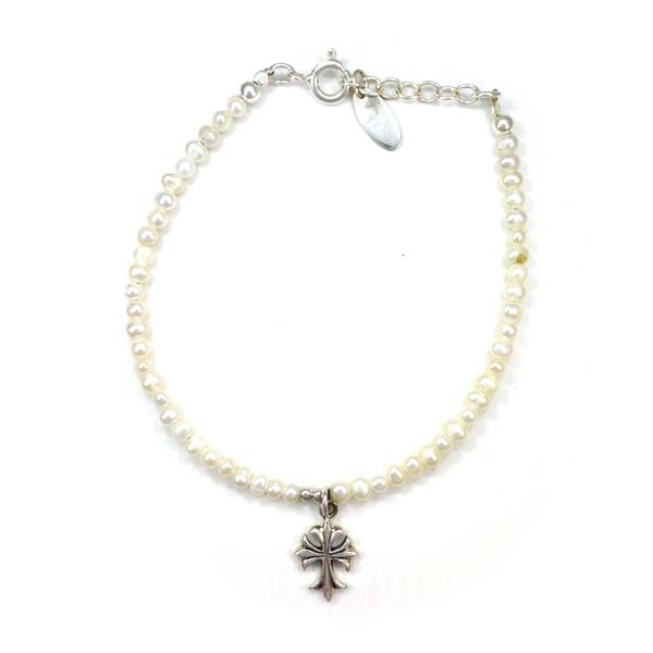 Sterling Silver and Freshwater Pearl and Cross Charm bracelet