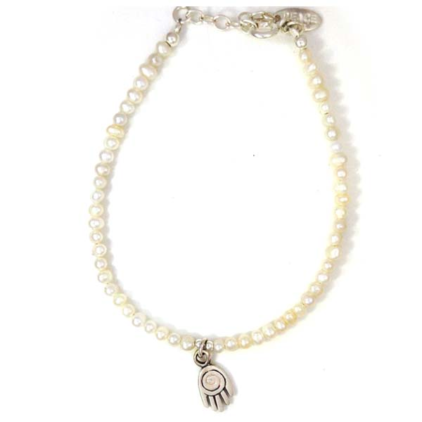 Sterling Silver and Freshwater Pearl and Hansa Charm bracelet