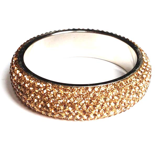 Sparkling Gold Crystal Bangle with 7 rows of Crystals