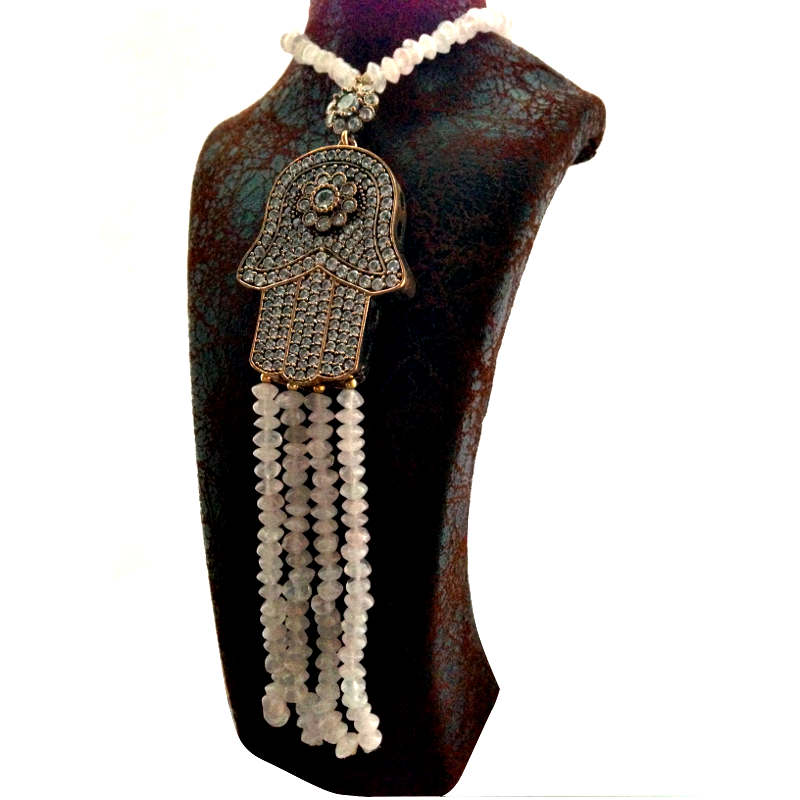 Rose Crystal Bead Long Style Necklace with Large Bejewelled Hansa Hand
