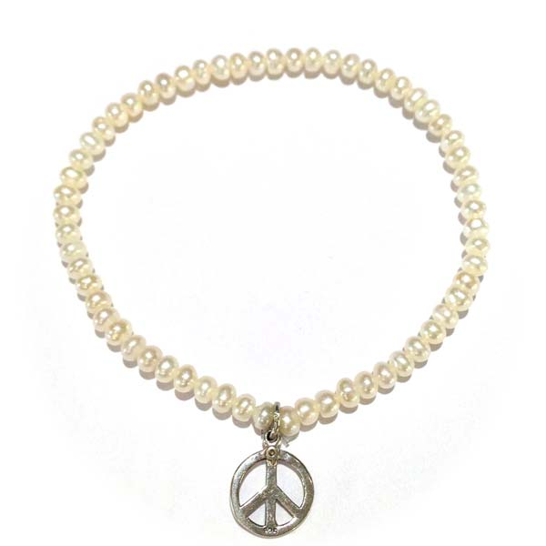 Sterling Silver and Freshwater Pearl and Peace Charm bracelet