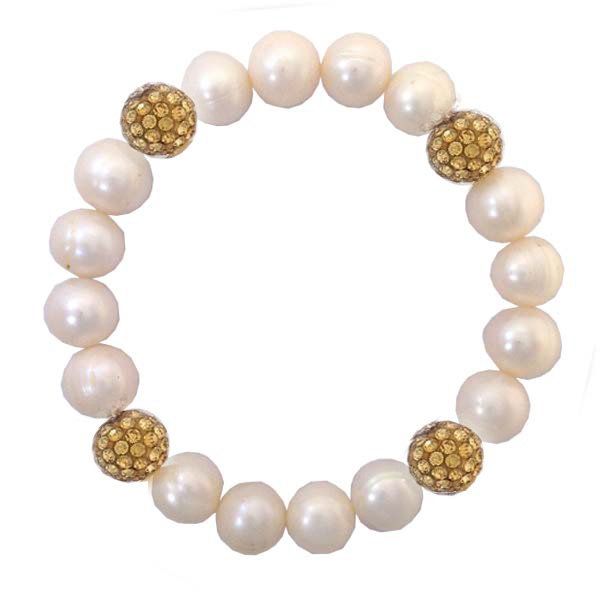Pearl and Gold Swarovski Crystal Sparkle Bracelet