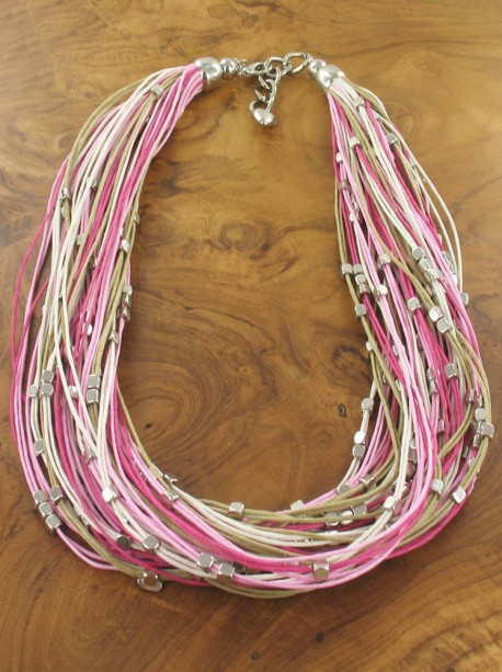 Leather look strands and metal detail Necklace