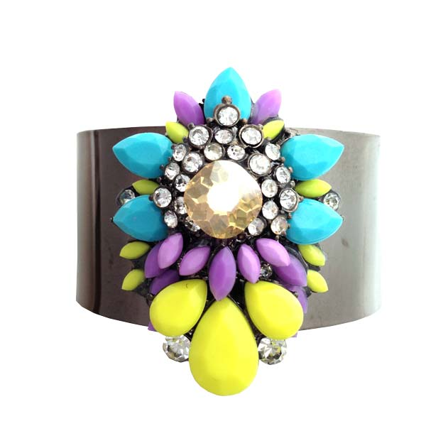 Crystal Blue and Yellow Cuff