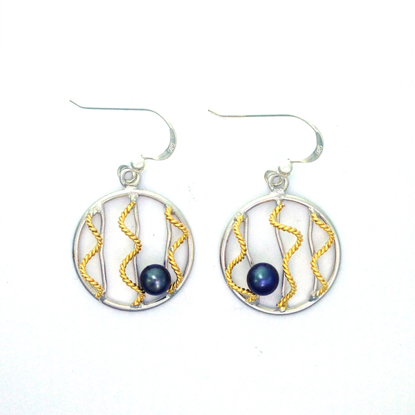 Silver and Gold and Black Pearl Earrings