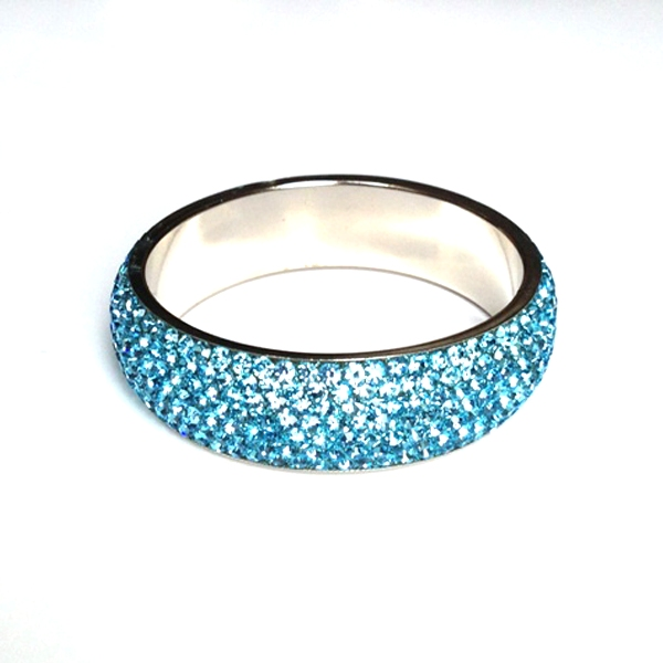 Sparkling Turquoise Crystal Bangle with 7 rows of Crystals