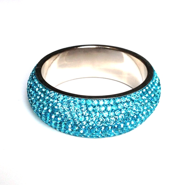 Sparkling Turquoise Crystal Bangle with 9 rows of Crystals