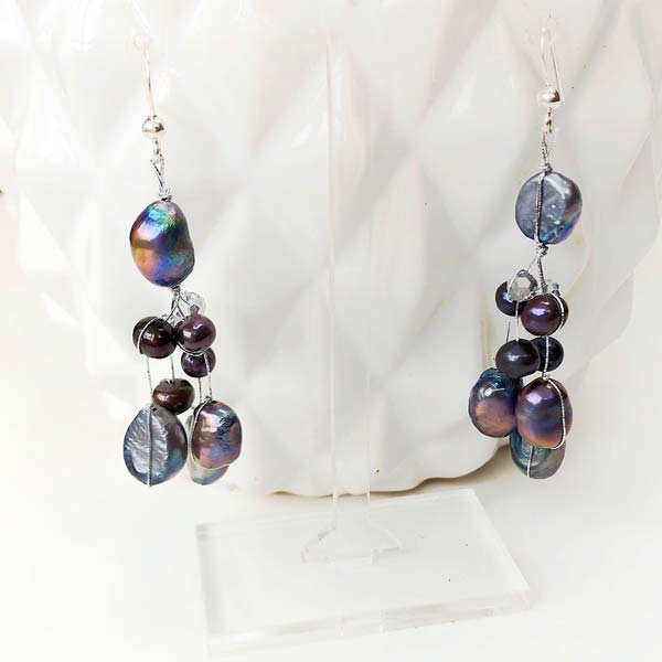 Black Pearl drop earrings