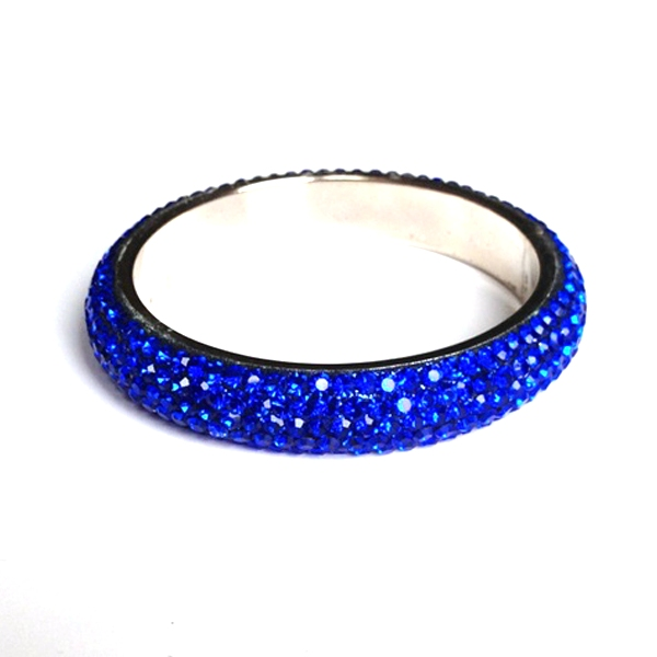 Sparkling Royal Blue Crystal Bangle with 5 rows of Crystals