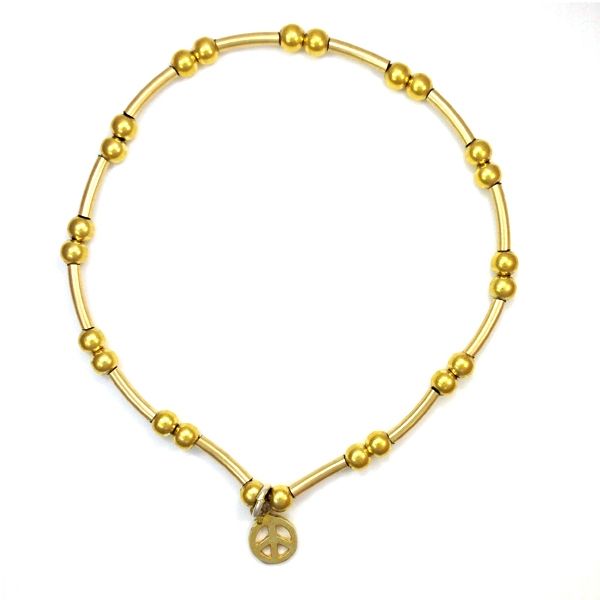 Gold Vermeil Bracelet with Peace Charm