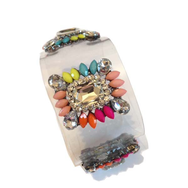 Crystal Cuff clear and multicoloured stones