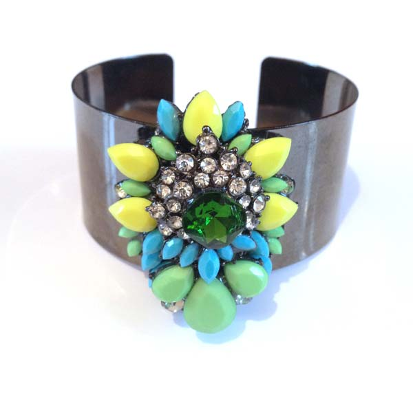 Crystal Green and Yellow Cuff