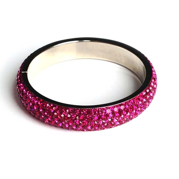 Sparkling Hot Pink Crystal Bangle with 5 rows of Crystals