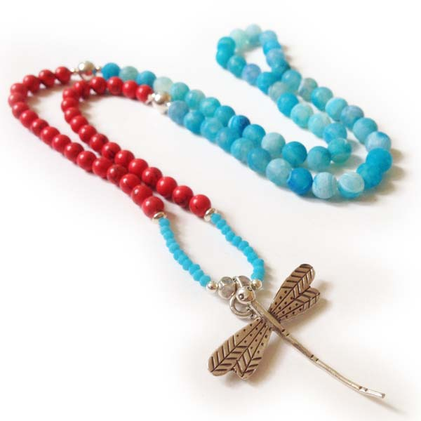 Blue and Red Coral and Agate Long Dragonfly Necklace
