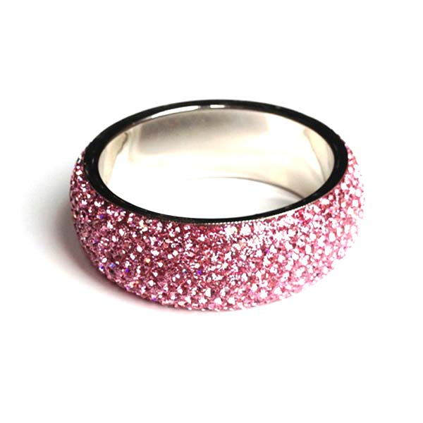 Sparkling Pastel Pink Crystal Bangle with 9 rows of Crystals