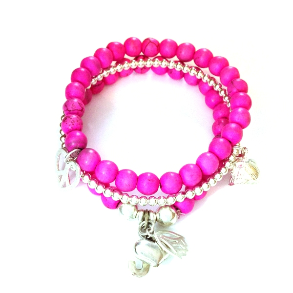 Neon Pink Howlite and Silver Heart Peace Charm Bracelet Stack
