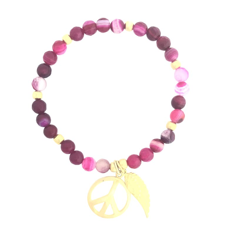 Pink Stone Charm Bracelet with Gold Charm