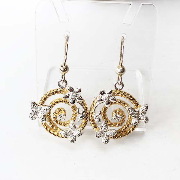 Silver and gold butterfly earrings