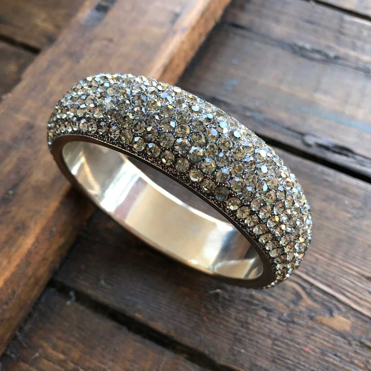 Sparkling Silver Crystal Bangle with 5 rows of Crystals