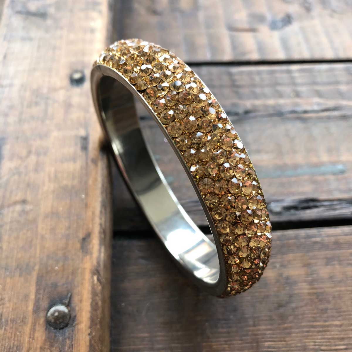 Sparkling Gold Crystal Bangle with 5 rows of Crystals