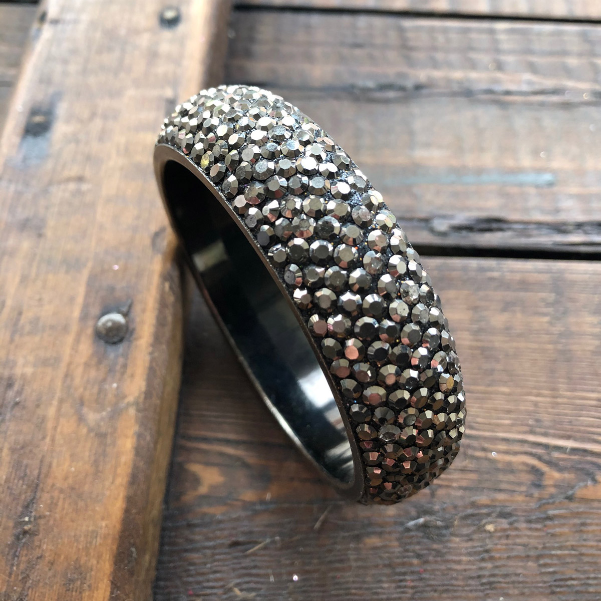 Sparkling Gunmetal Crystal Bangle with 7 rows of Crystals