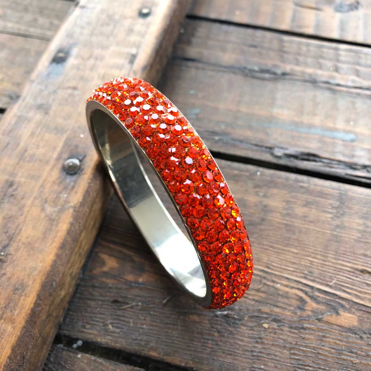 Sparkling Orange Crystal Bangle with 5 rows of Crystals