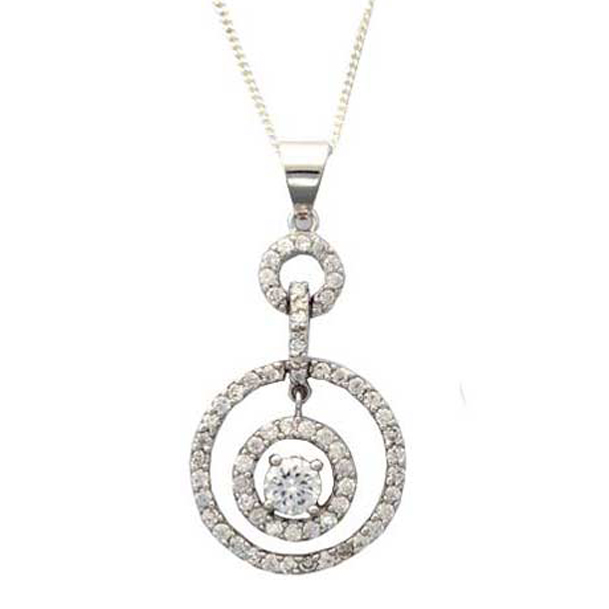Sterling Silver with Cubic Zirconia Pendant